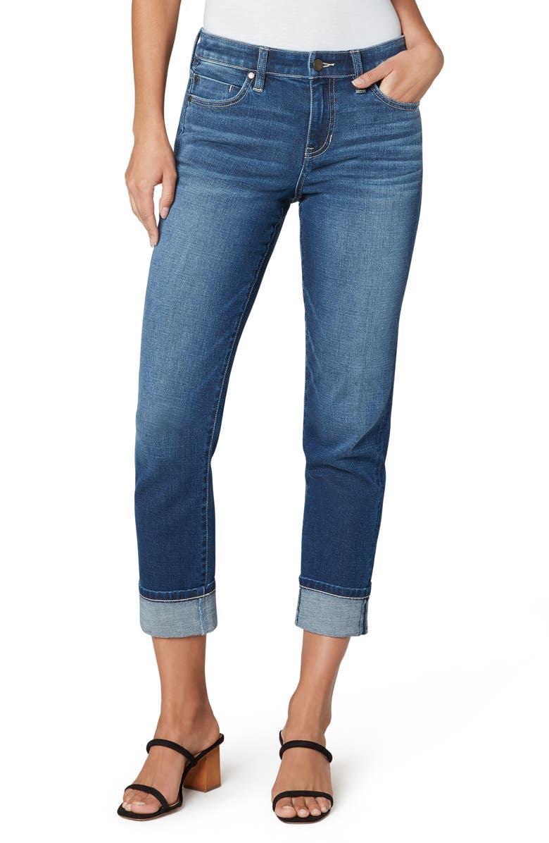 LIVERPOOL LOS ANGELES Marley High Waist Cuff Girlfriend Jeans, Main, color, 400