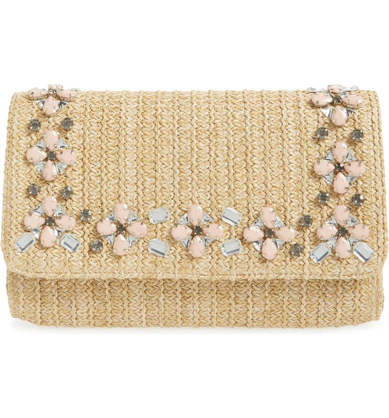 GLINT Embellished Straw Clutch, Main, color, NATURAL