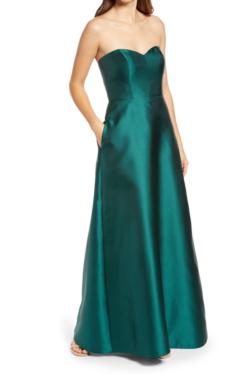 ALFRED SUNG Strapless Satin A-Line Gown, Main, color, HUNTER