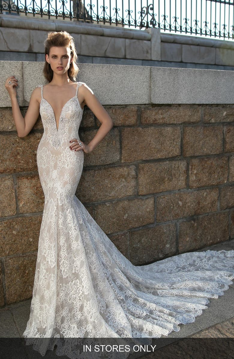 BERTA Plunging V-Neck Beaded Lace Dress, Main, color, 900