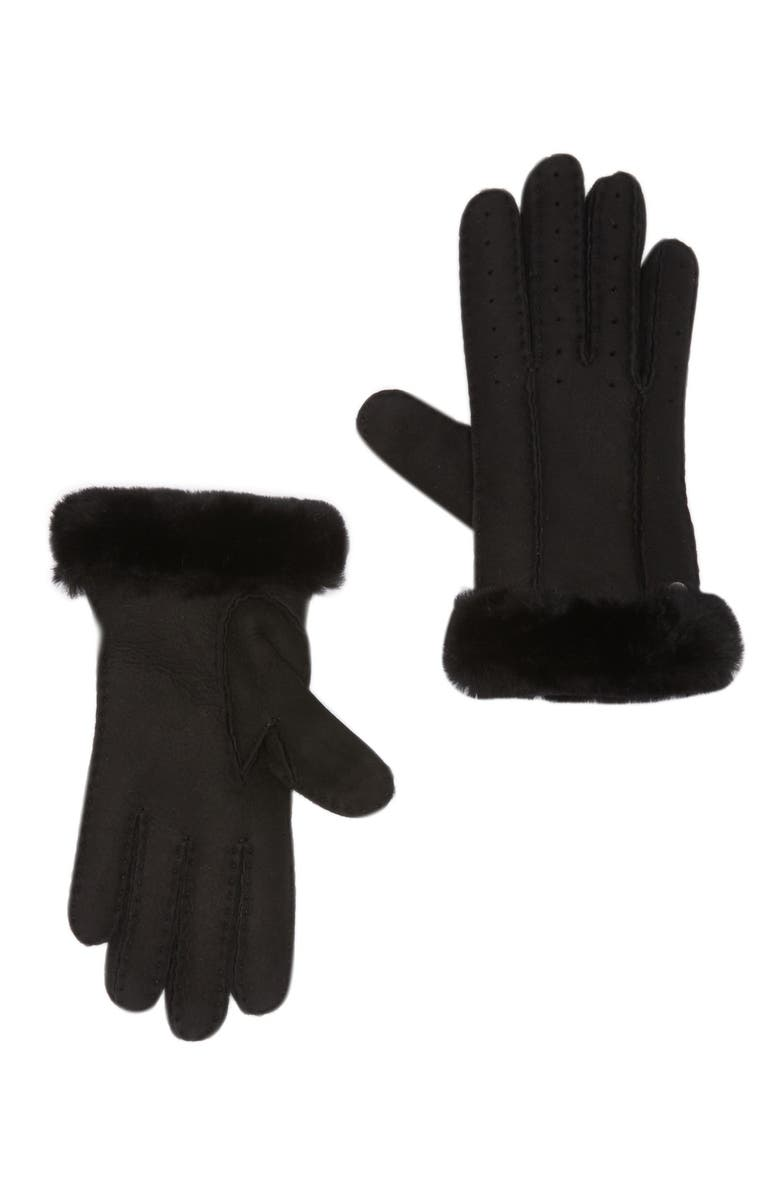 UGG Classic Perforated Genuine Dyed Shearling Gloves, Main, color, BLACK