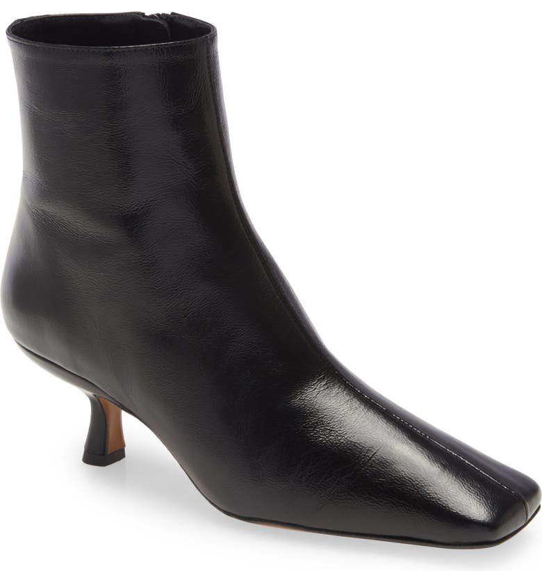 BY FAR Lange Square Toe Kitten Heel Leather Bootie, Main, color, Black