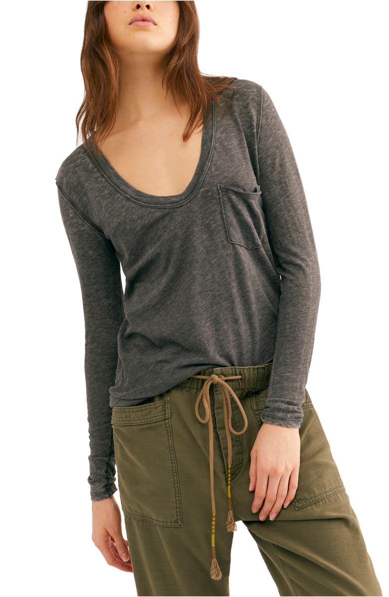 FREE PEOPLE Betty Long Sleeve Top, Main, color, BLACK