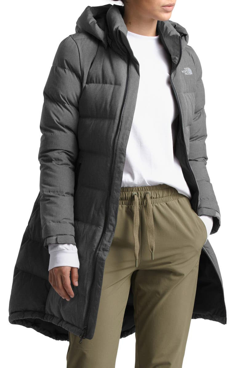 THE NORTH FACE Metropolis II Hooded Water Resistant Down Parka, Main, color, TNF MEDIUM GREY HEATHER