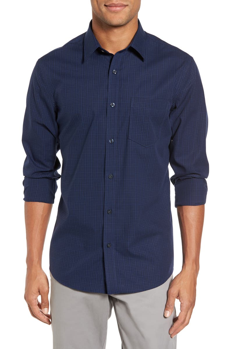 NORDSTROM Men's Shop Trim Fit Non-Iron Mini Check Sport Shirt, Main, color, 410