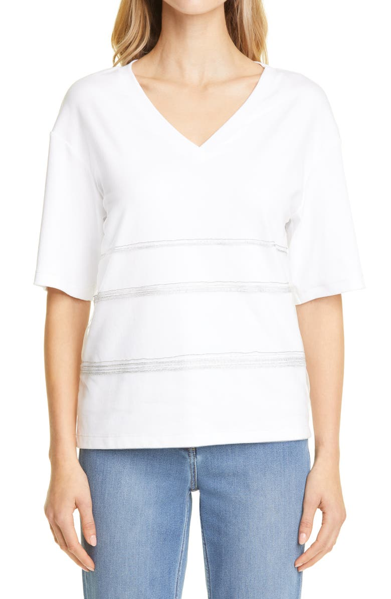 FABIANA FILIPPI Tulle Detail Jersey T-Shirt, Main, color, White