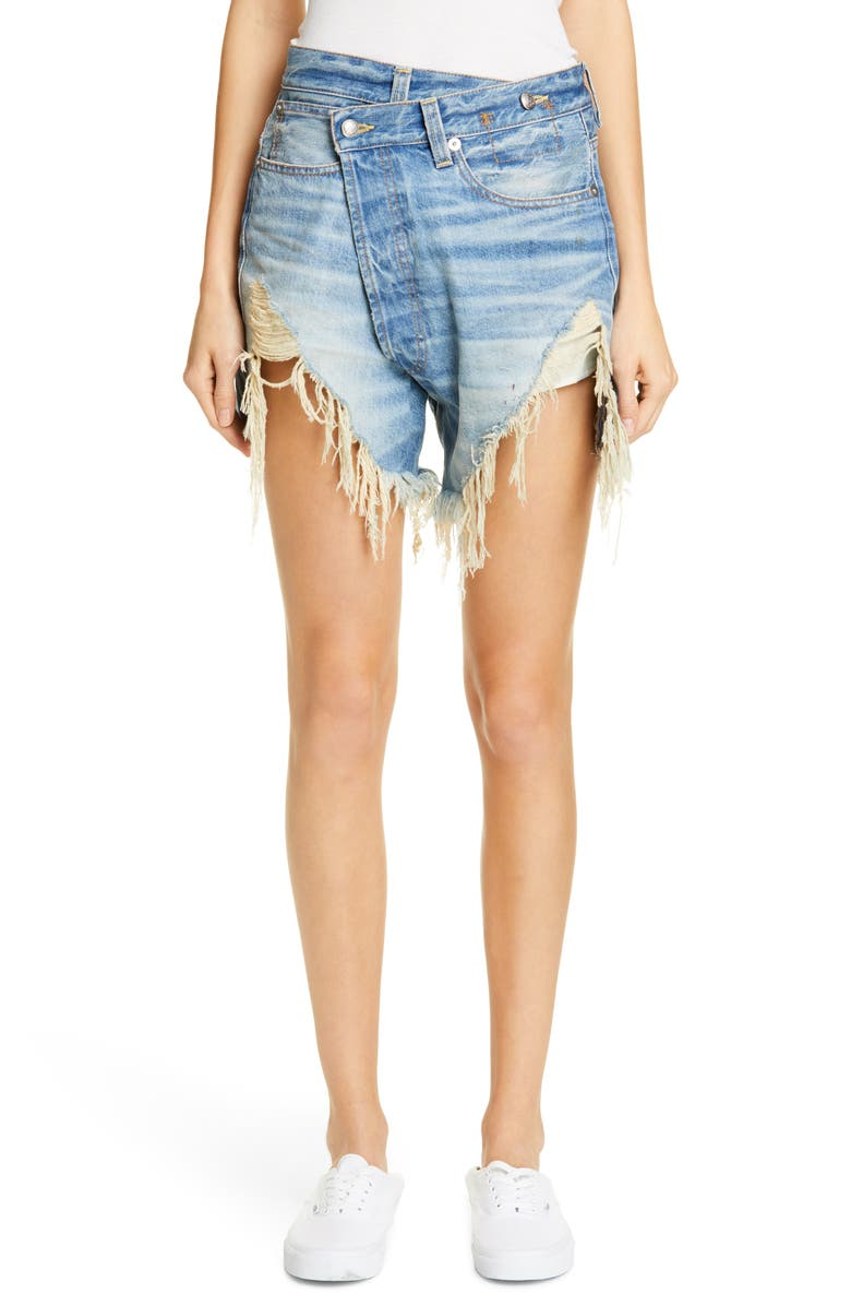 R13 Distressed Crossover Denim Shorts, Main, color, 488