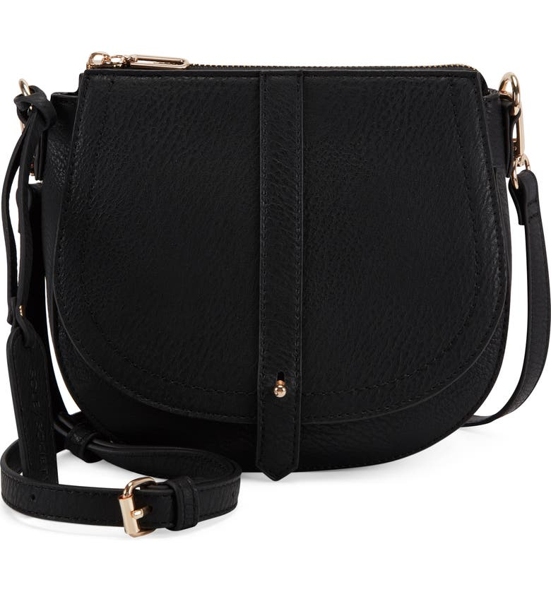 SOLE SOCIETY Abra Faux Leather Crossbody Bag, Main, color, 001