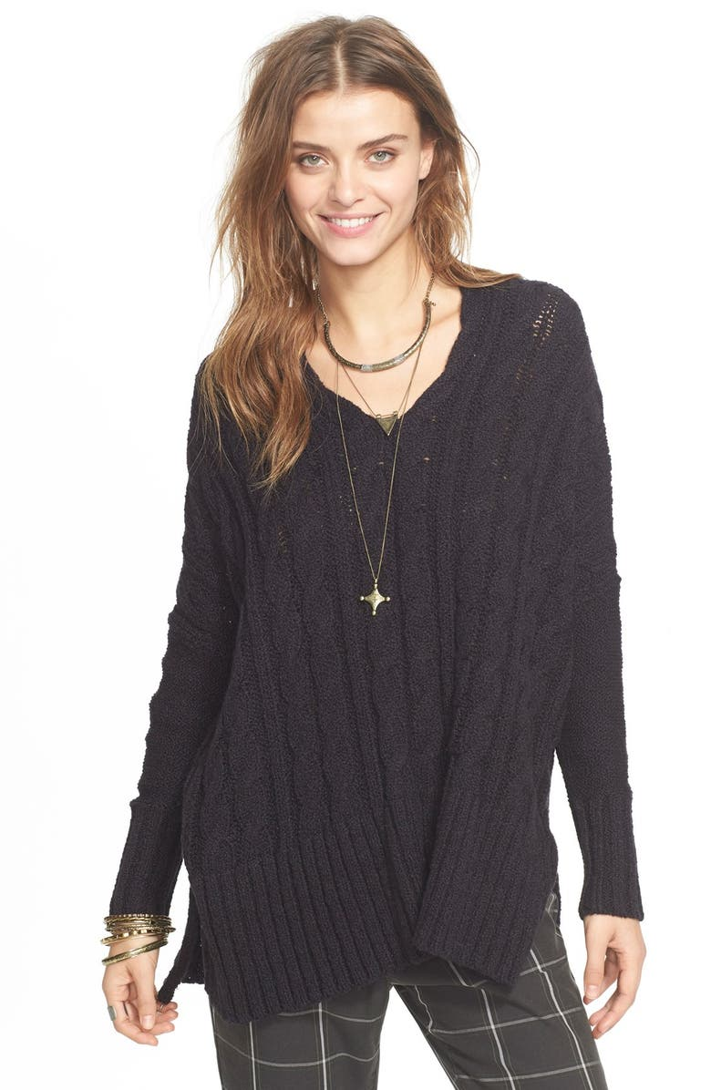 FREE PEOPLE Easy Cable V-Neck Sweater, Main, color, 001