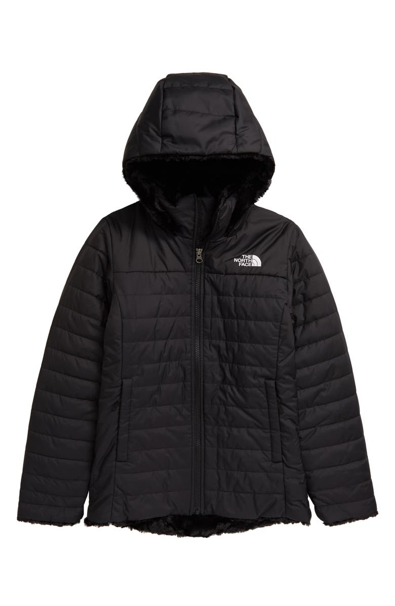THE NORTH FACE Kids' Mossbud Swirl Reversible Water Repellent Hooded Jacket, Main, color, TNF BLACK/TNF WHITE