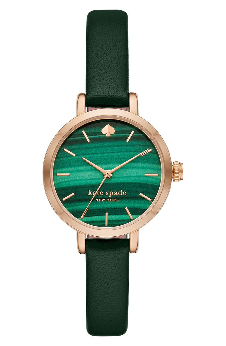 KATE SPADE NEW YORK metro gem dial leather strap watch, 34mm, Main, color, ROSE GOLD