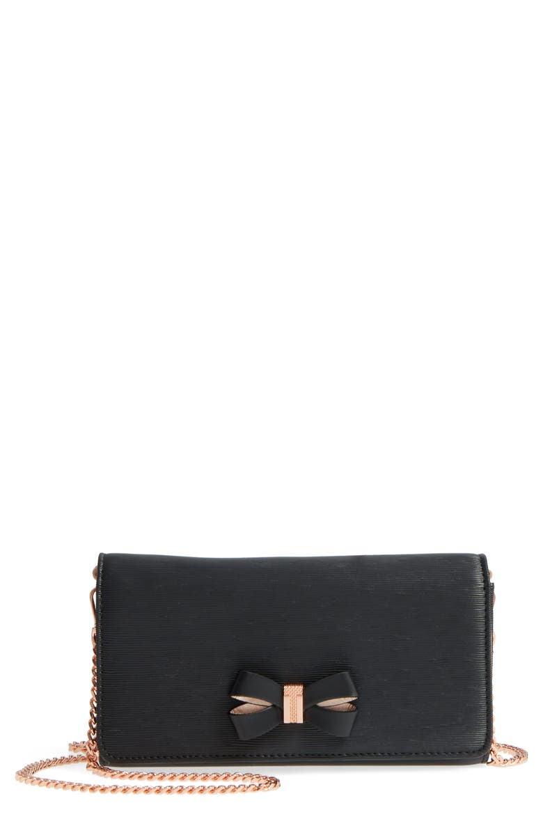 TED BAKER LONDON Melisia Bow Leather Mantinee Wallet on a Chain, Main, color, Black