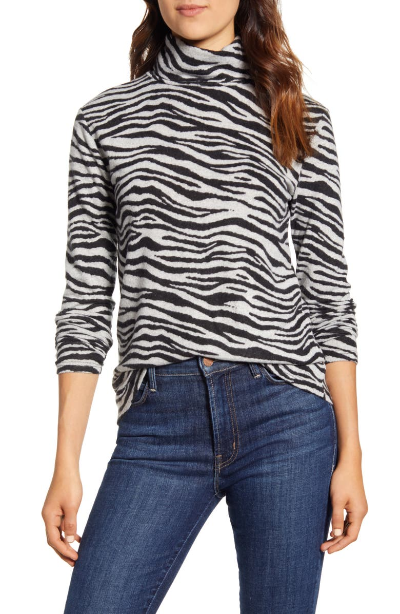 BEACHLUNCHLOUNGE Animal Print Turtleneck Hacci Top, Main, color, 001