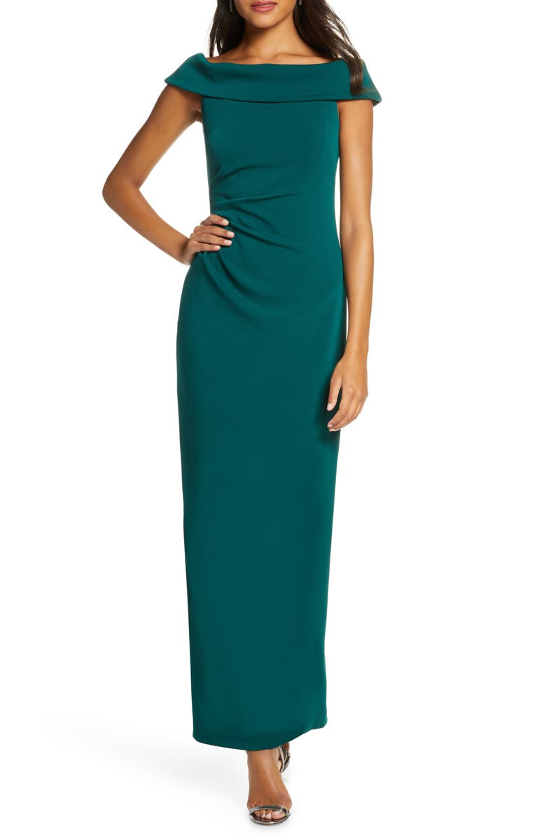VINCE CAMUTO Foldover Neck Side Ruched Column Gown, Main, color, 311