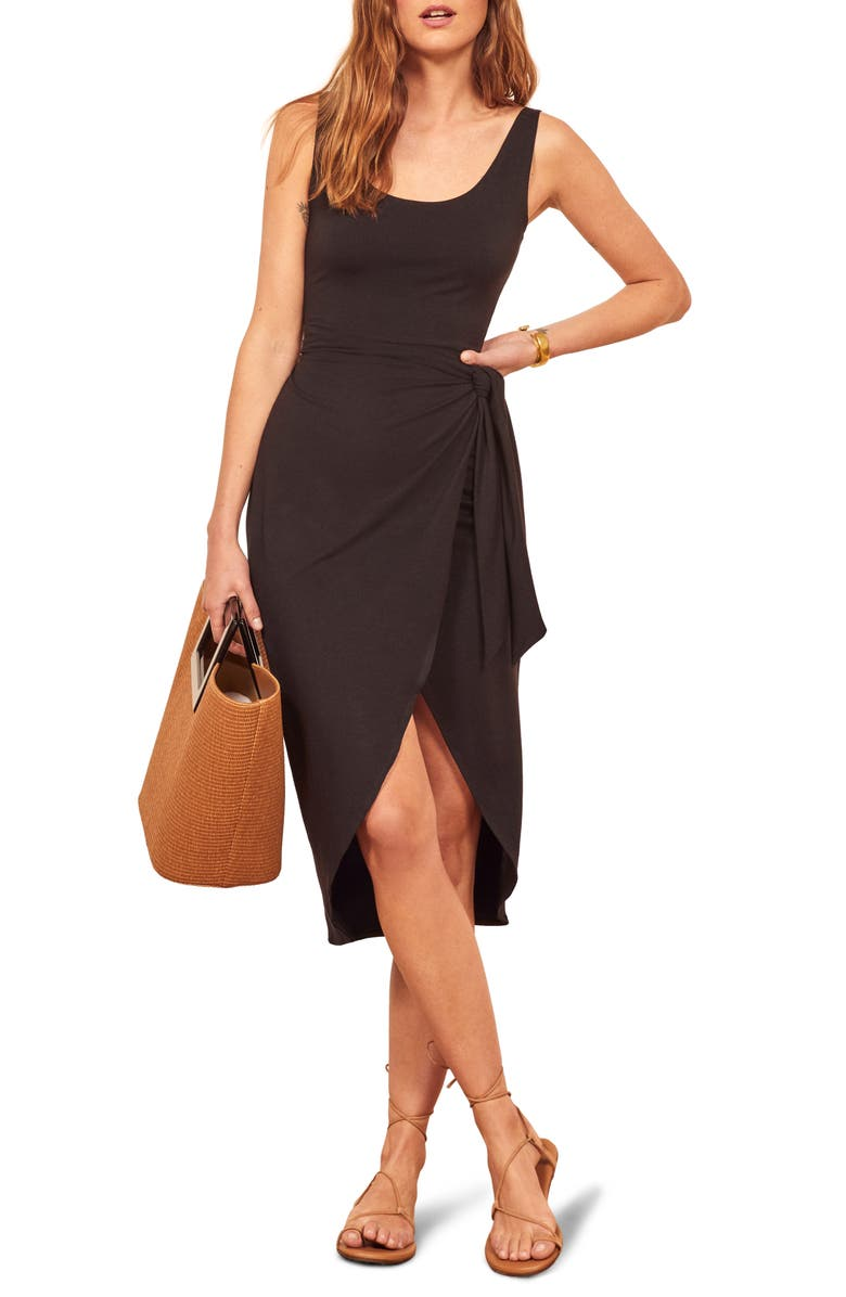REFORMATION Kaila Wrap Style Jersey Dress, Main, color, 001