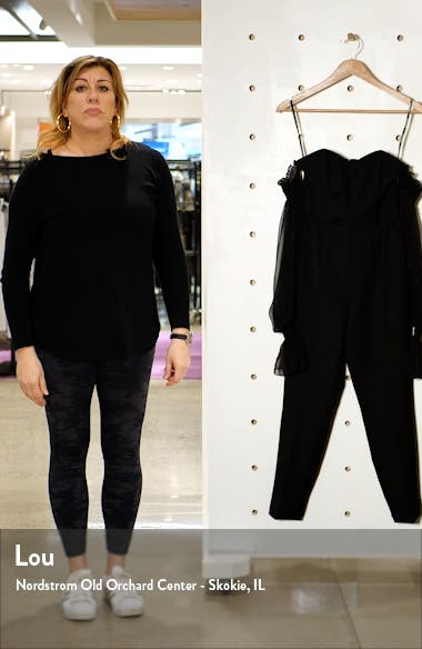 Off the Shoulder Sheer Balloon Long Sleeve Jumpsuit, sales video thumbnail