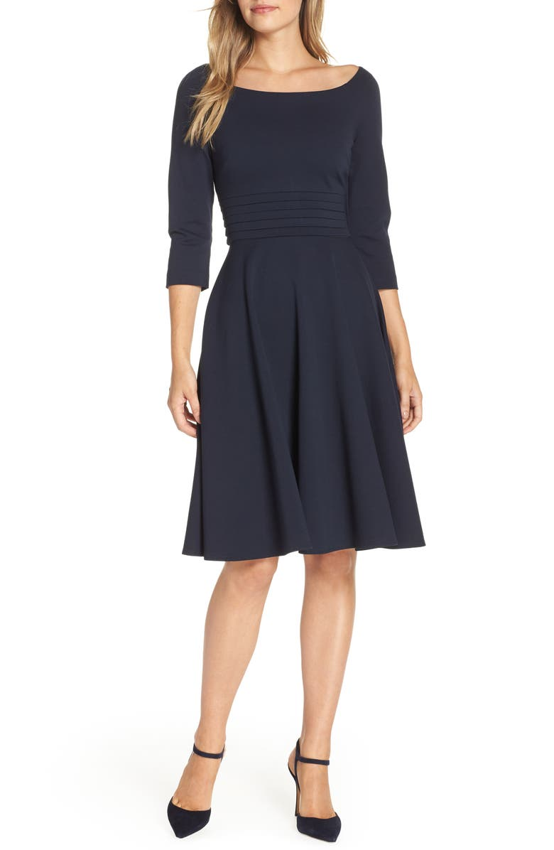 HARPER ROSE Pleated Waist Fit & Flare Dress, Main, color, 410