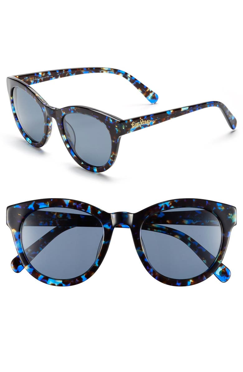 LILLY PULITZER<SUP>®</SUP> 'Hartley' 52mm Polarized Sunglasses, Main, color, BLUE TORTOISE