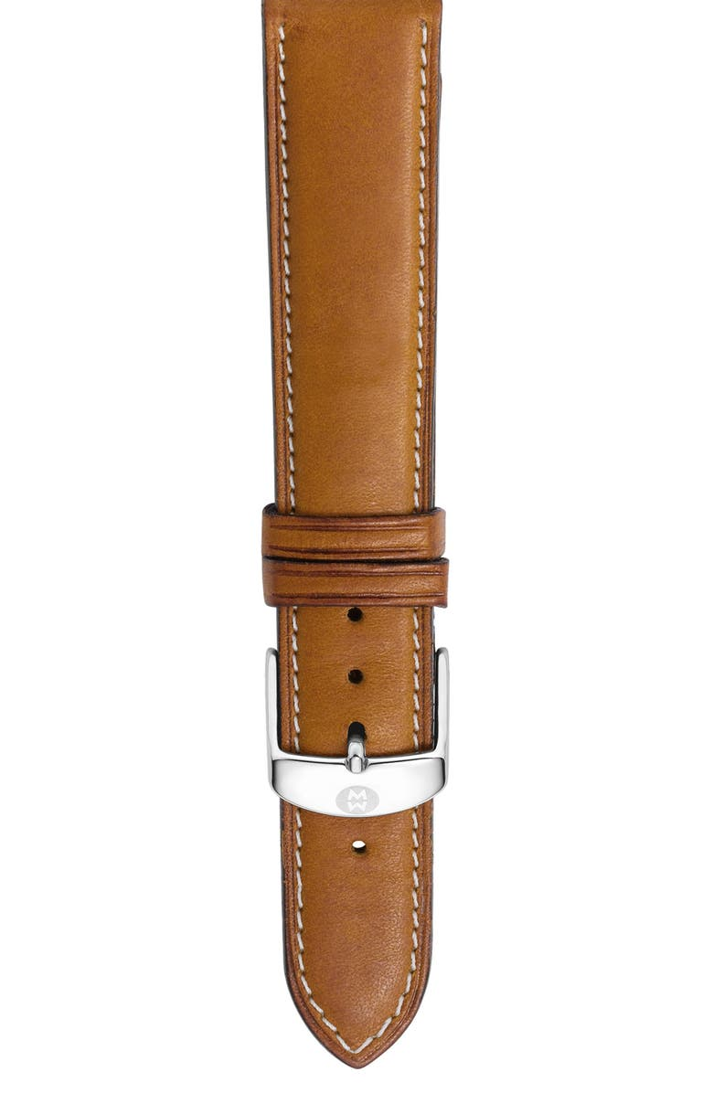 MICHELE 18mm Leather Watch Strap, Main, color, 200