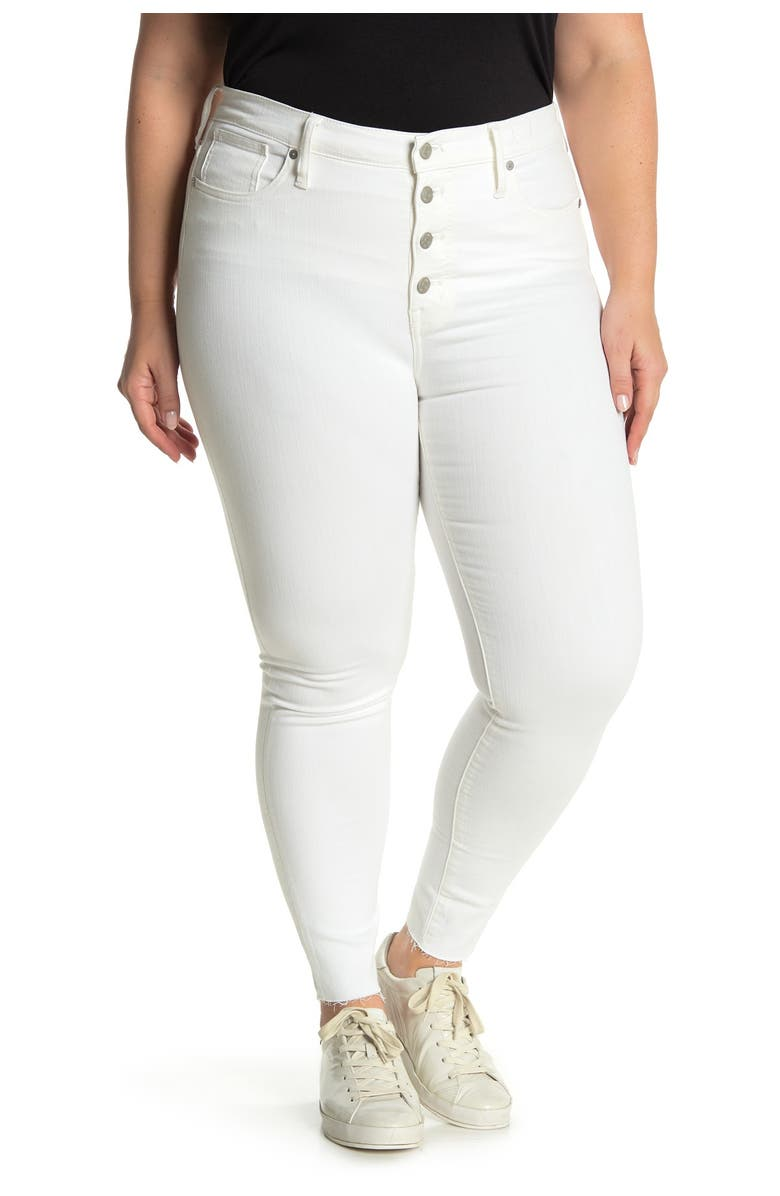 MADEWELL Button Fly High Rise Jeans, Main, color, PURE WHITE
