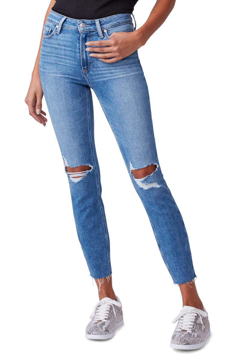 PAIGE Hoxton Ripped High Waist Raw Hem Crop Skinny Jeans, Main, color, 400