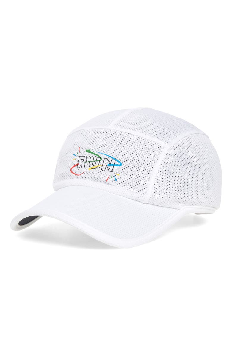 BROOKS Tempo Performance Running Hat, Main, color, WHITE/ RUN VICTORY