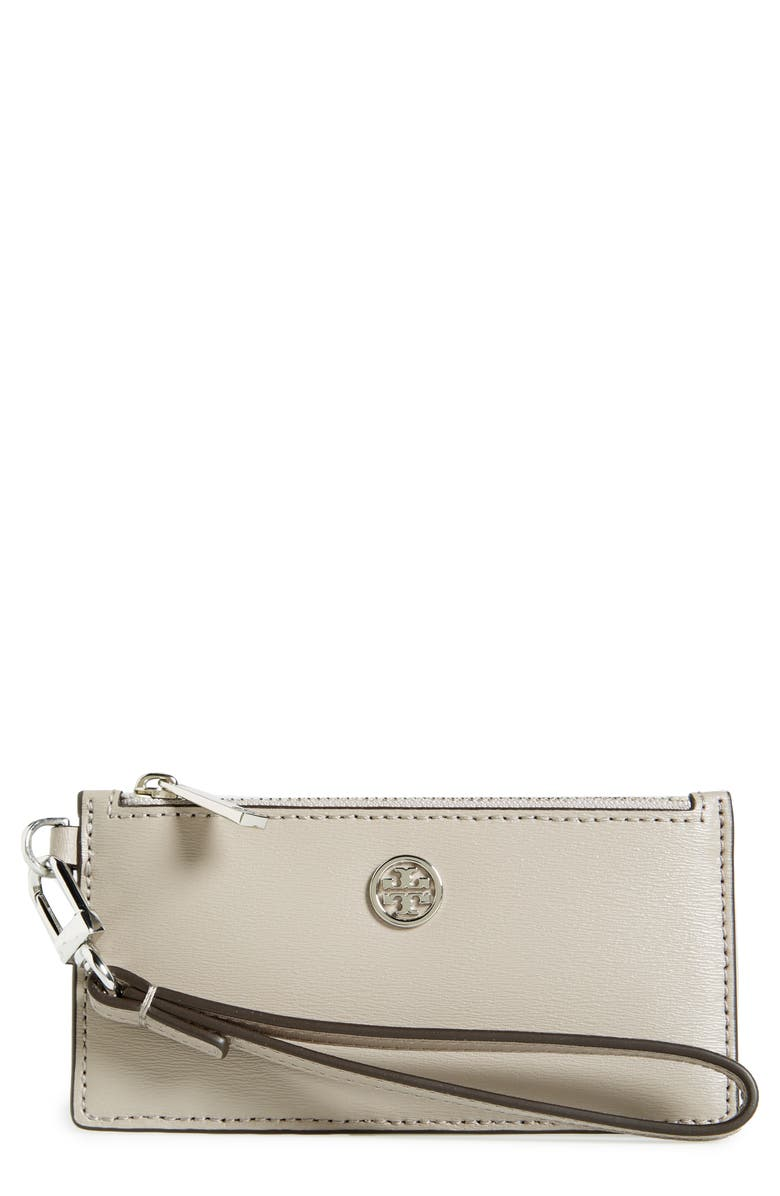 TORY BURCH Parker Leather Card Case, Main, color, 020