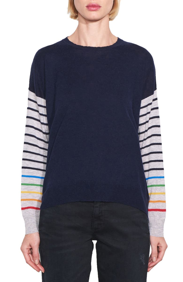 SUNDRY Rainbow Stripe Sleeves Wool & Cashmere Sweater, Main, color, 410