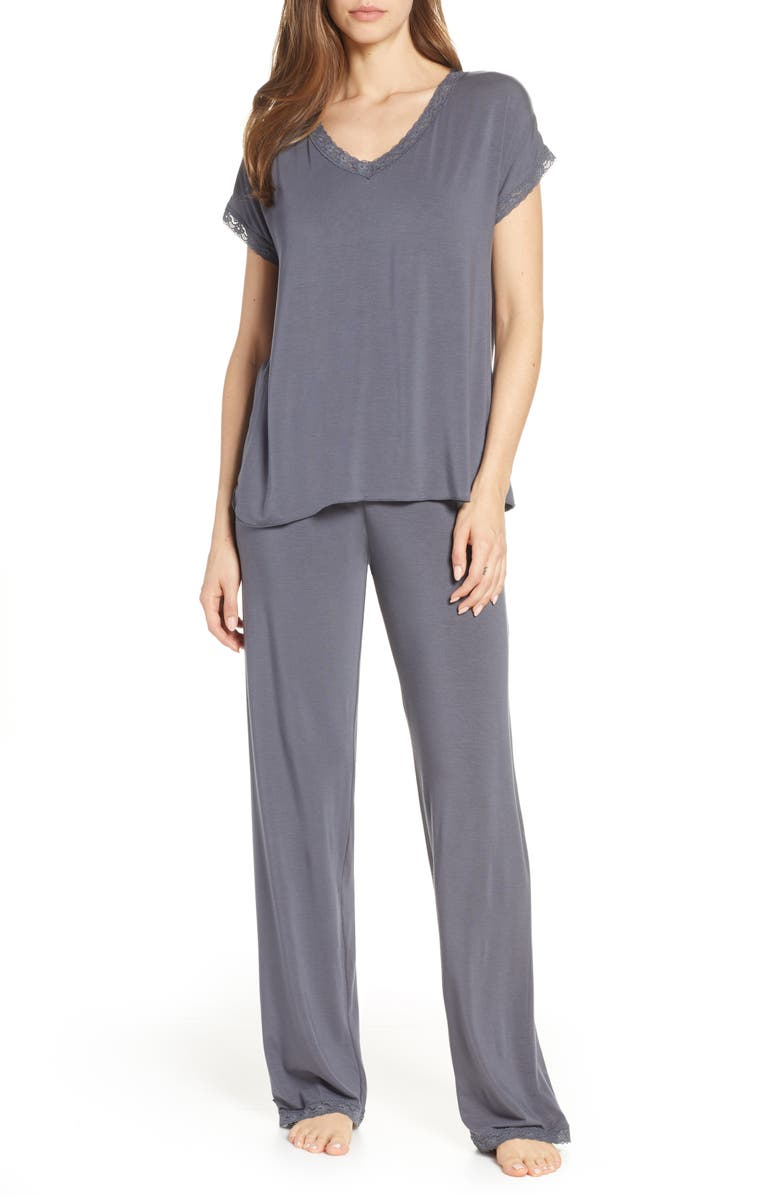 BAREFOOT DREAMS<SUP>®</SUP> Luxe Jersey Pajamas, Main, color, GRAPHITE