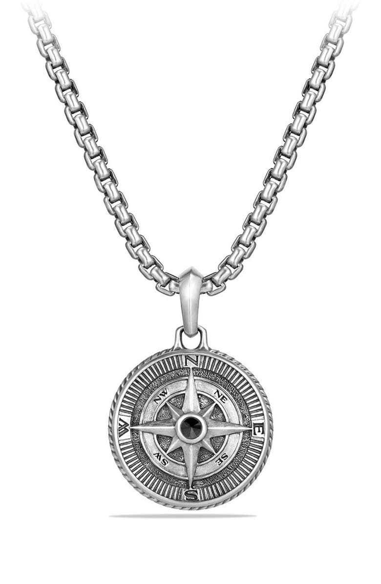 DAVID YURMAN Maritime Compass Amulet with Black Diamond, Main, color, SILVER/ BLACK DIAMOND
