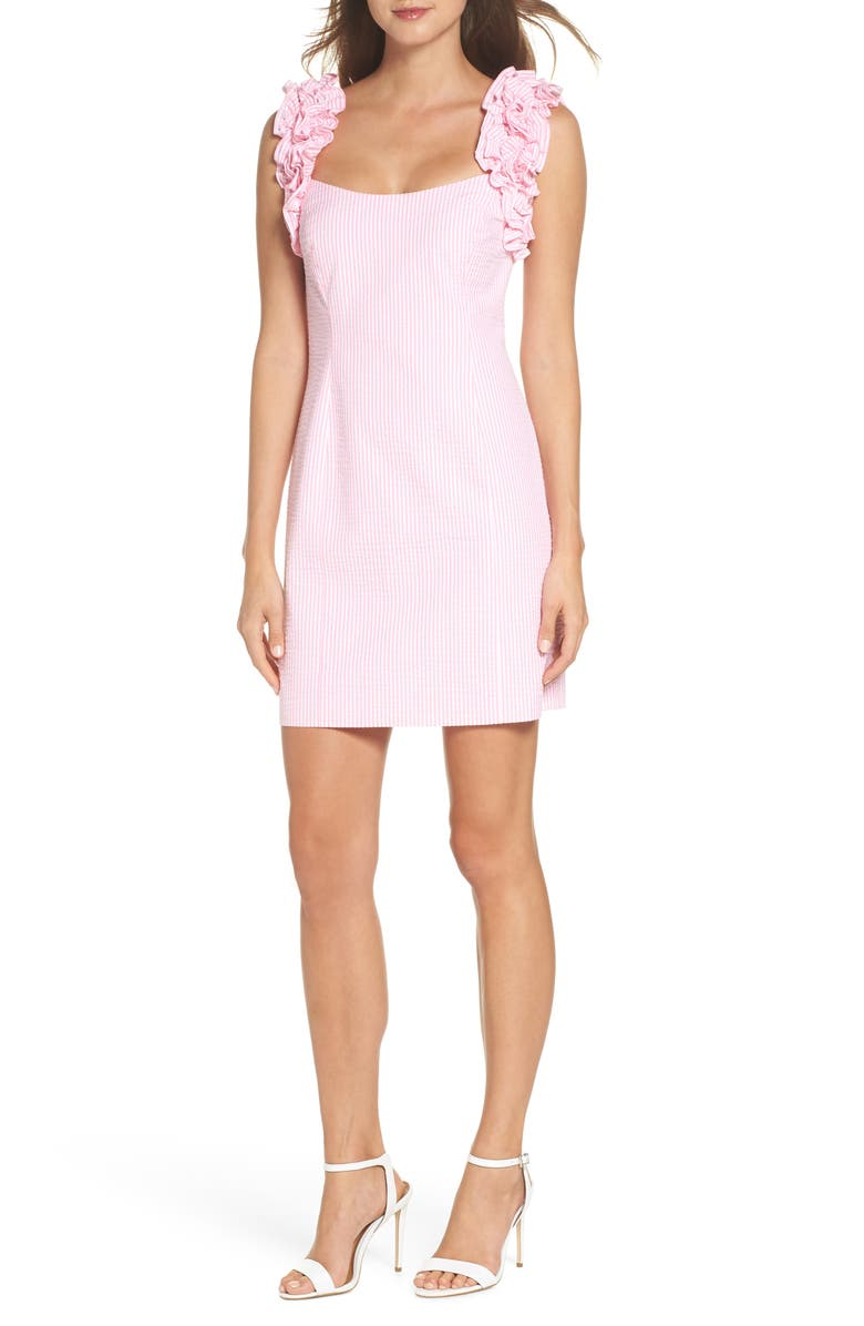 LILLY PULITZER<SUP>®</SUP> Devina Sheath Dress, Main, color, PINK COSMO SEERSUCKER