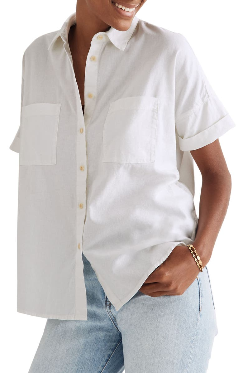 MADEWELL Cotton Courier Shirt, Main, color, PURE WHITE