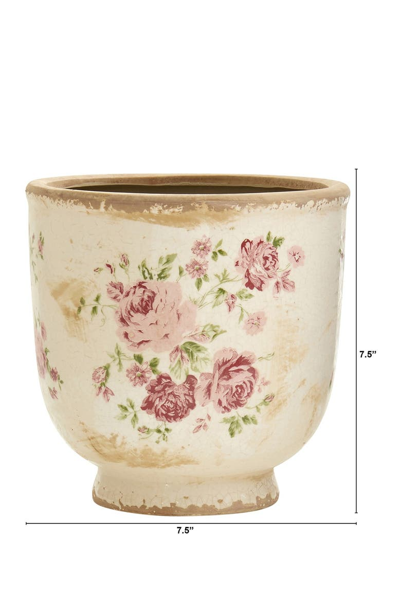 NEARLY NATURAL 7.5in. Tuscan Ceramic Floral Print Planter, Main, color, GREEN
