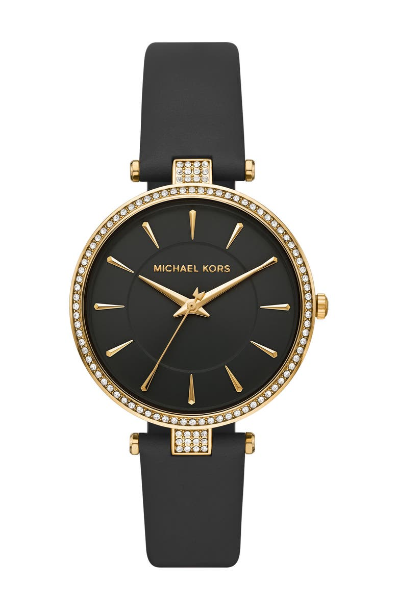 MICHAEL KORS Women's Anabeth Three-Hand Black Leather Watch, 37mm, Main, color, NO COLOR