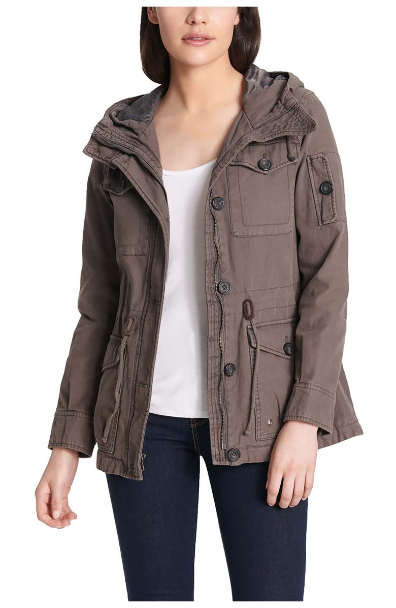 LEVIS Hooded Military Jacket, Main, color, GREY