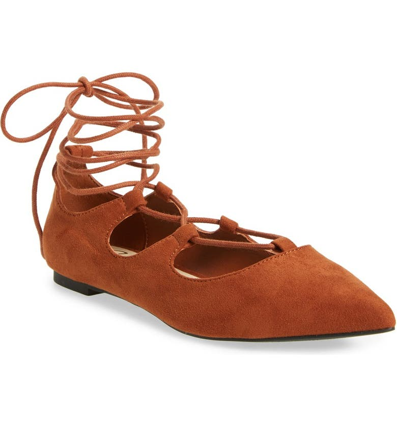 CALLISTO 'Rian' Ghillie Lace Pointy Toe Flat, Main, color, TAN FAUX SUEDE