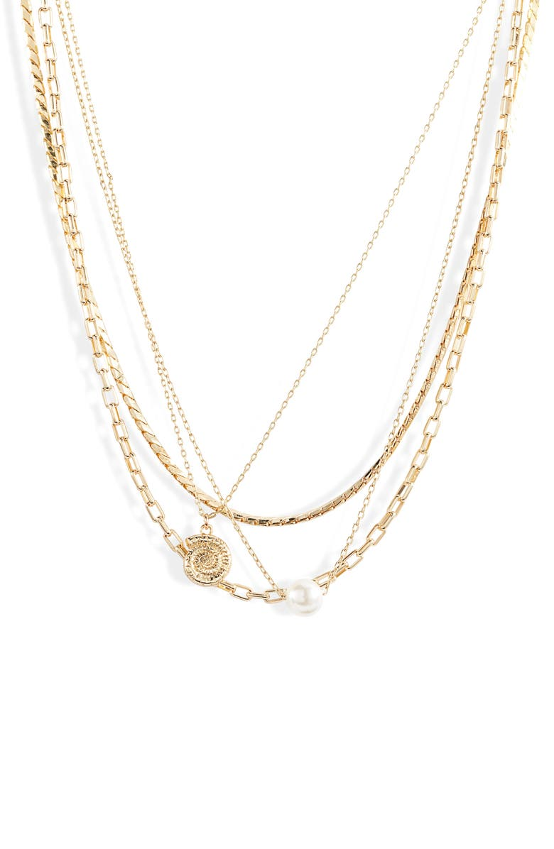 SOMETHING NAVY Four-Tier Seashell Necklace, Main, color, 100