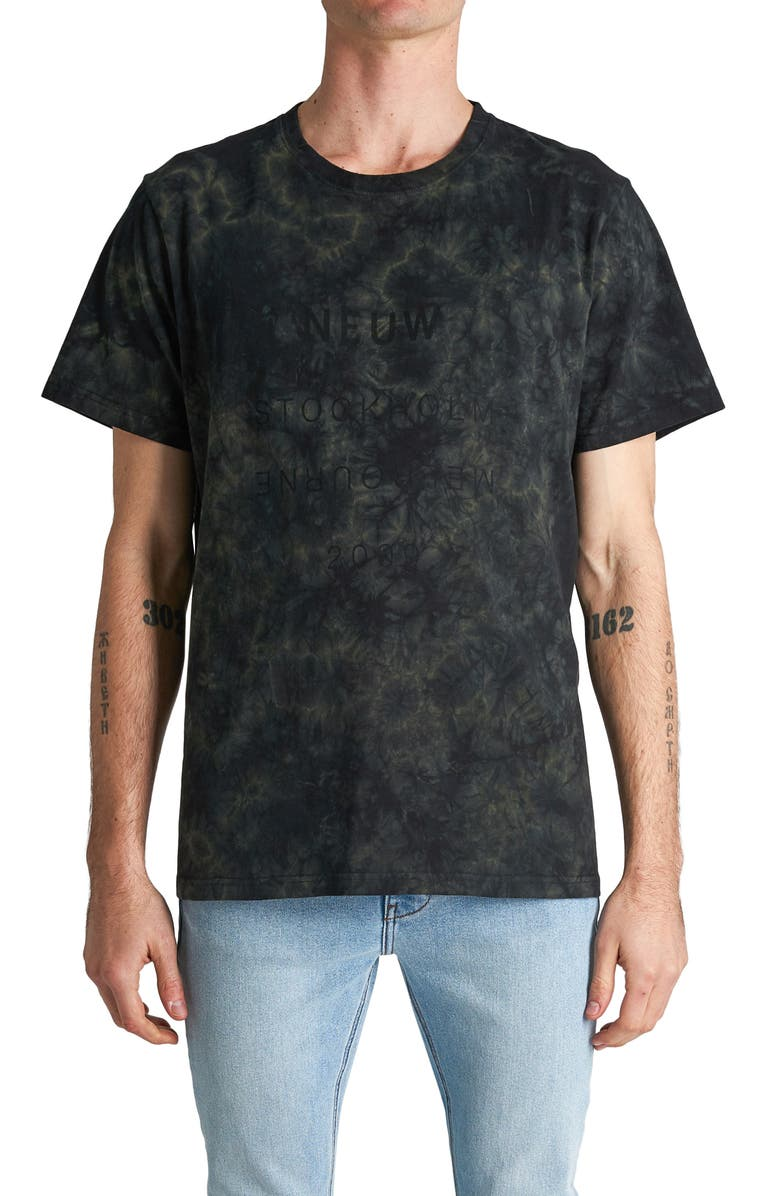 NEUW DENIM Band Acid Wash Graphic Tee, Main, color, FOREST
