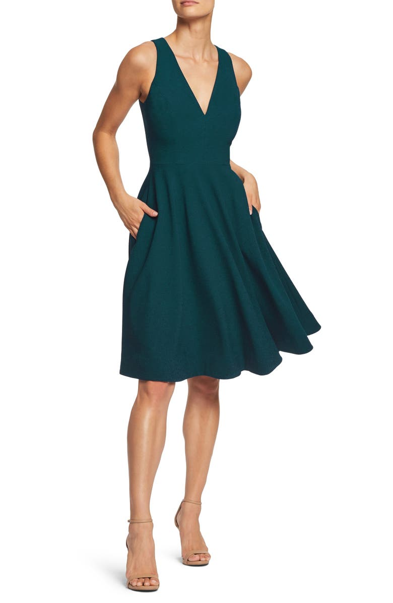 DRESS THE POPULATION Catalina Fit & Flare Cocktail Dress, Main, color, PINE