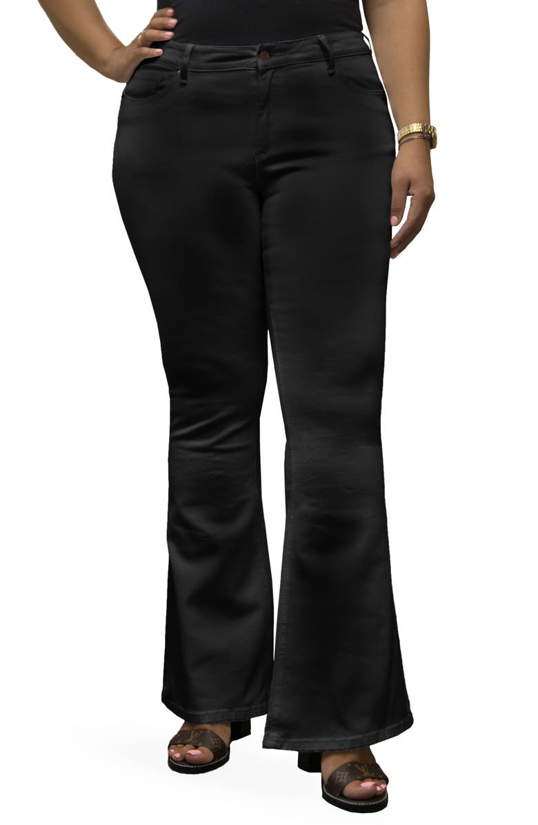 POETIC JUSTICE Kylie Curvy Fit Flare Leg Jeans, Main, color, OVER DYE BLACK