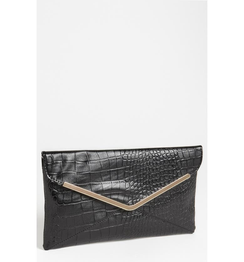 EXPRESSIONS NYC Faux Leather Envelope Clutch, Main, color, Black