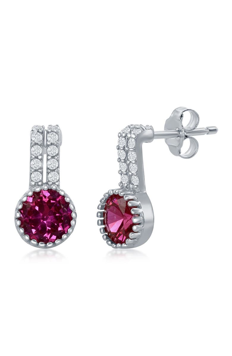 SIMONA Sterling Silver Round Ruby Drop Earrings, Main, color, SILVER