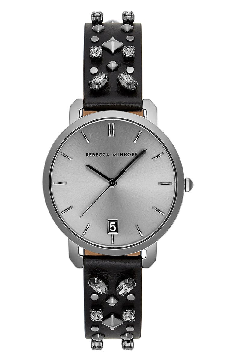 REBECCA MINKOFF Billie Studded Leather Strap Watch, 34mm, Main, color, 001
