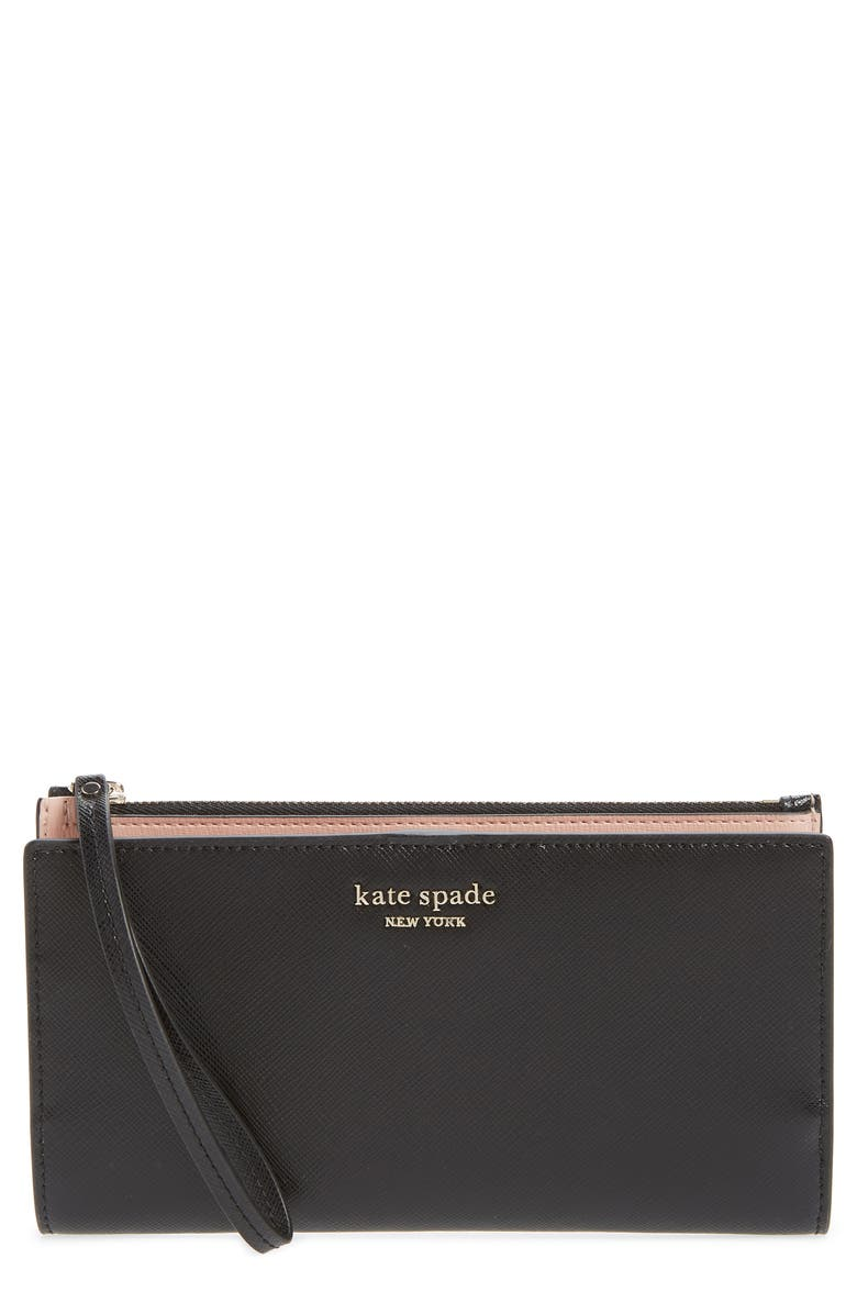 KATE SPADE NEW YORK spencer continental leather wristlet, Main, color, BLACK