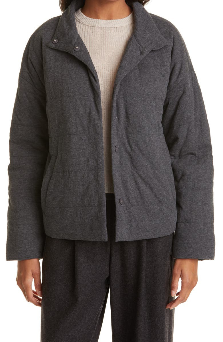 EILEEN FISHER Padded Snap Front Knit Jacket, Main, color, GRAPHITE
