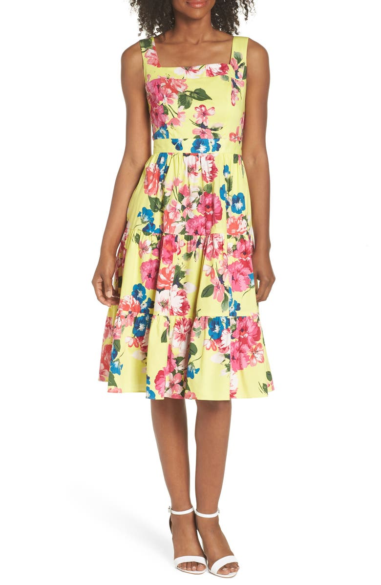 ELIZA J Square Neck Floral Tiered Fit & Flare Midi Dress, Main, color, 720