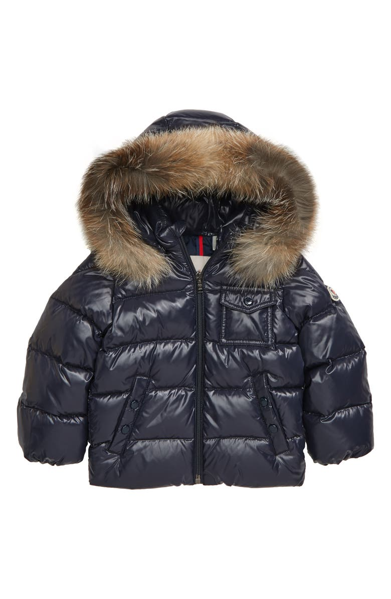 MONCLER K2 Water Resistant Hooded Down Jacket with Genuine Fox Fur Trim, Main, color, 419