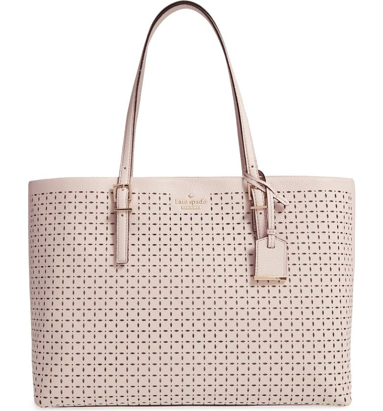 KATE SPADE NEW YORK 'milton lane - shawn' perforated leather tote, Main, color, PUMICE