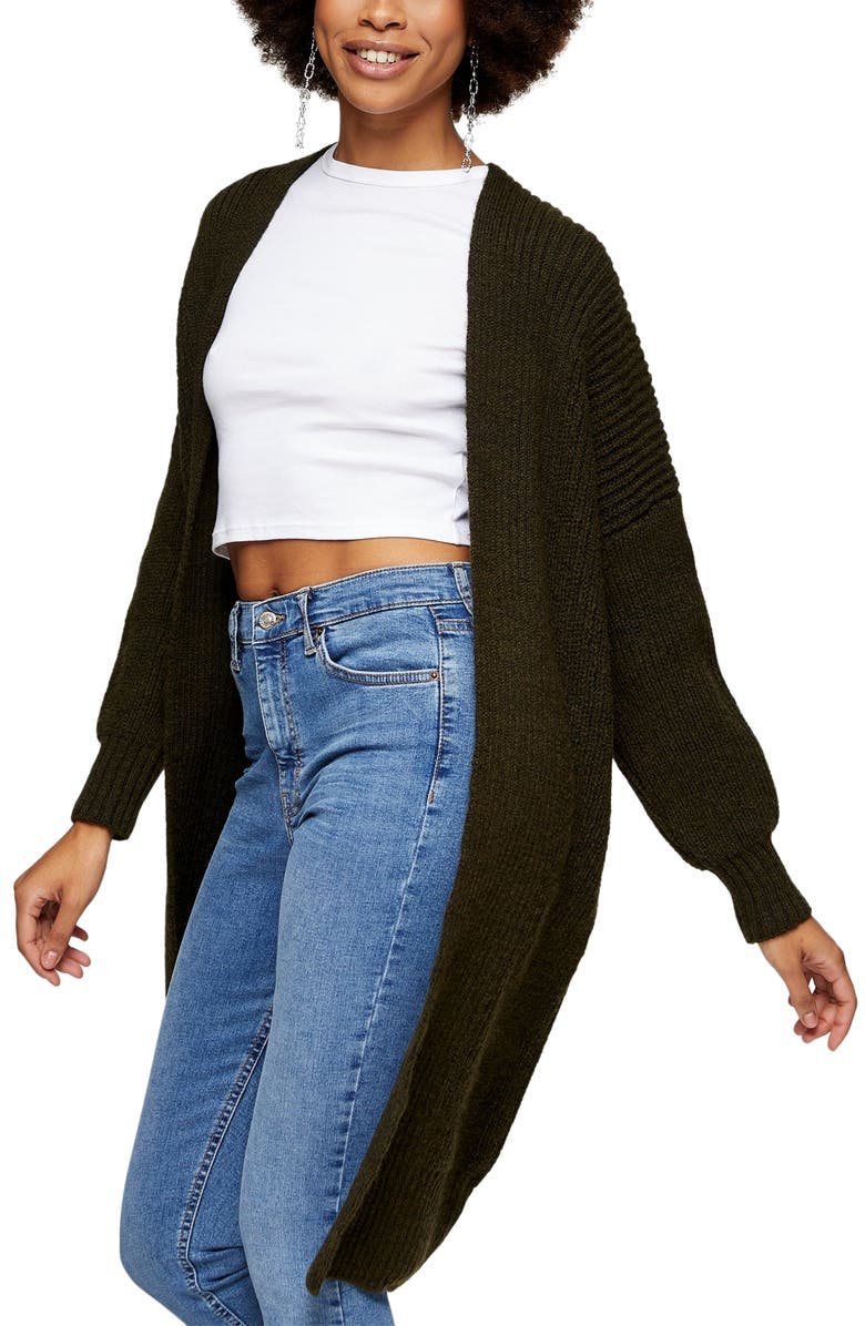 TOPSHOP Ribbed Open Front Cardigan, Main, color, OLIVE