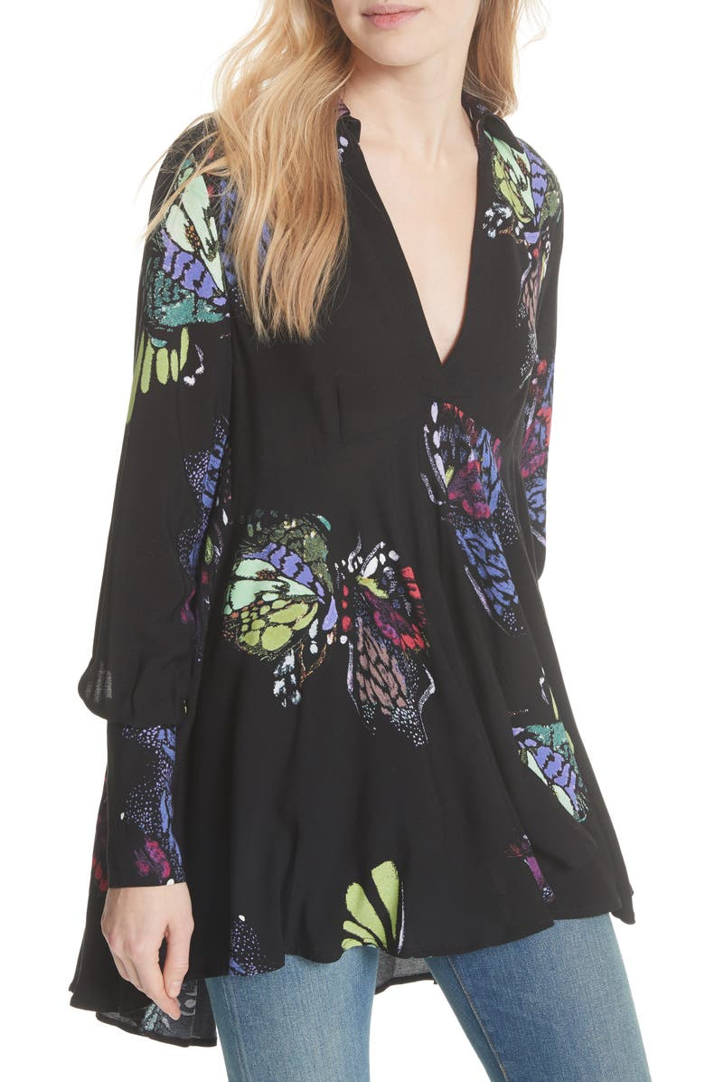 FREE PEOPLE Field of Butterflies Tunic, Main, color, 001